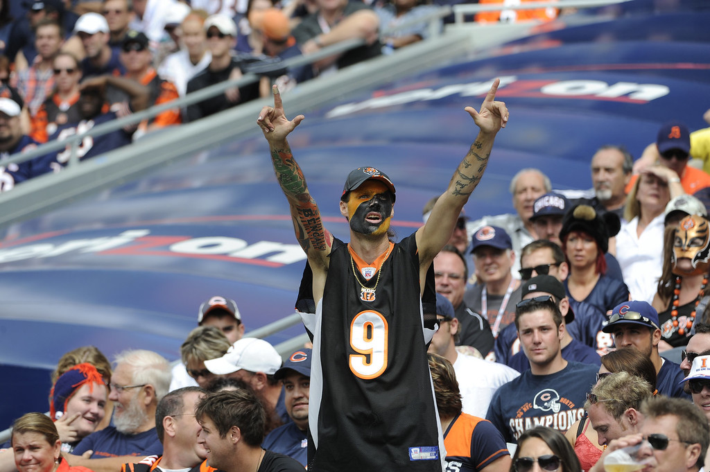 . A Cincinnati Bengals fan cheers on the Bengal during a game against the Chicago Bears on September 8, 2013 at Soldier Field in Chicago, Illinois. (Photo by David Banks/Getty Images)