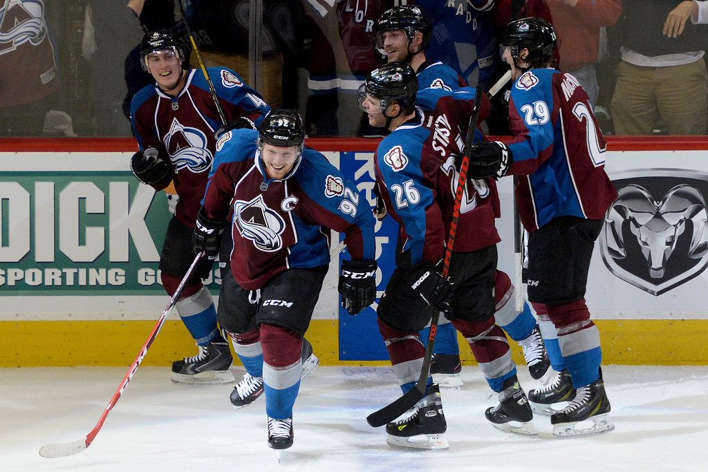 . Gabriel Landeskog (92) of the Colorado Avalanche celebrates his 3-1 goal against the Minnesota Wild with teammates during the second period. (Photo by AAron Ontiveroz/The Denver Post)