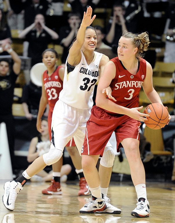 . University of Colorado\'s Arielle Roberson plays defense on Mikaela Ruef during a game against Stanford on Friday, Jan. 4, at the Coors Event Center on the CU campus in Boulder.    Jeremy Papasso/Camera