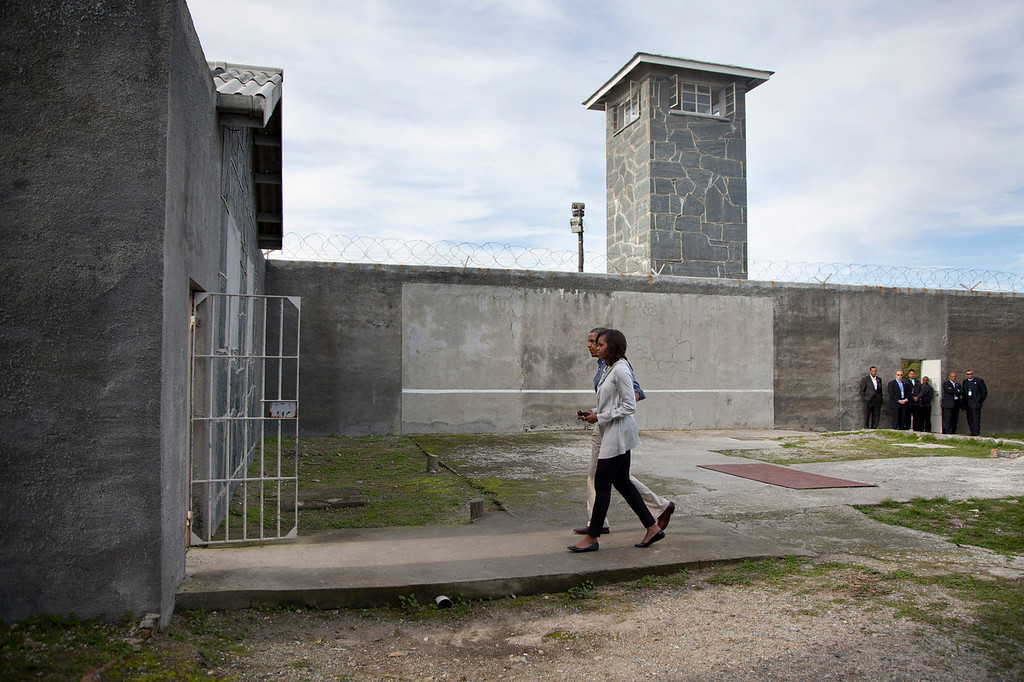 . U.S. President Barack Obama and first lady Michelle Obama tour Robben Island, South Africa, Sunday, June 30, 2013. Robben Island is a historic Apartheid-era prison that held black political prisoners including former South African president and anti-apartheid hero Nelson Mandela.  (AP Photo/Evan Vucci)