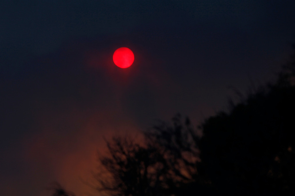 . The sun is tinted red from smoke plumes of the Springs Fire near Pacific Coast Highway and the Los Angeles County Line at Malibu, California, May 2, 2013. REUTERS/Patrick T. Fallon