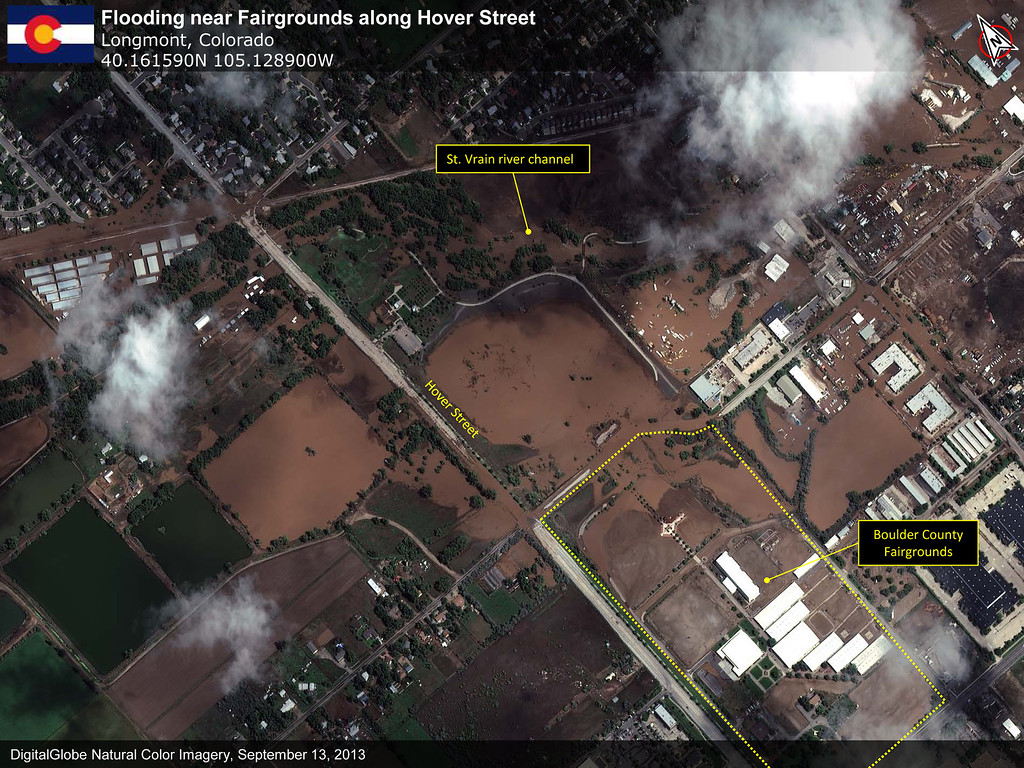 . A DigitalGlobe First Look Report Historic Flooding in Colorado Lyons and Longmont. Sept. 14, 2013. (Courtesy of DigitalGlobe)
