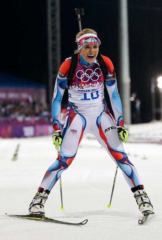 . Czech Republic\'s Gabriela Soukalova comes to halt in the finish after winning the silver medal in the women\'s biathlon 12.5k mass-start, at the 2014 Winter Olympics, Monday, Feb. 17, 2014, in Krasnaya Polyana, Russia. (AP Photo/Felipe Dana)