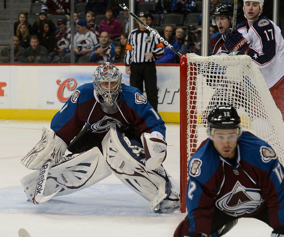 . DENVER, CO. - JANUARY 24: Colorado Avalanche goalie Semyon Varlamov (1) defends during the second period against the Columbus Blue Jackets January 24, 2013 at Pepsi Center. The Colorado Avalanche take on the Columbus Blue Jackets in NHL action. (Photo By John Leyba / The Denver Post)