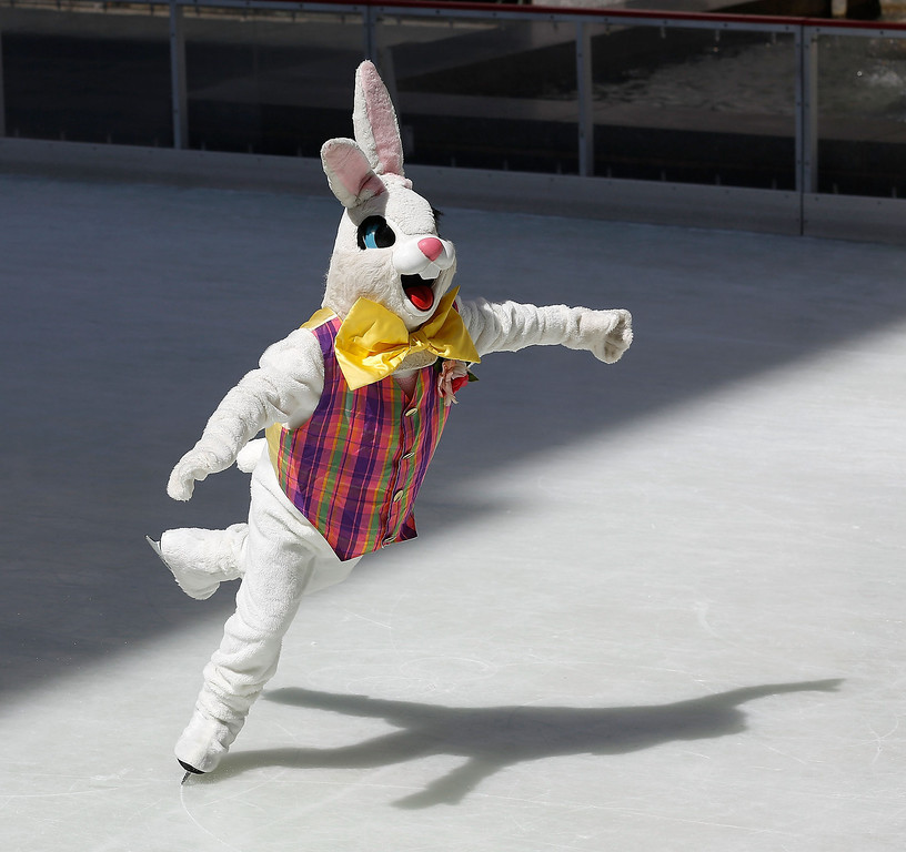 . The Easter Bunny skates at The Rink at Rockefeller Center on Easter Sunday on April 20, 2014 in New York City.  (Photo by Jemal Countess/Getty Images)