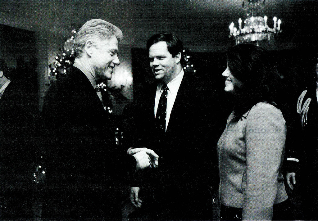 . A photograph showing former White House intern Monica Lewinsky meeting President Bill Clinton at a White House Christmas part December 16, 1996 submitted as evidence in documents by the Starr investigation and released by the House Judicary committee September 21, 1998.