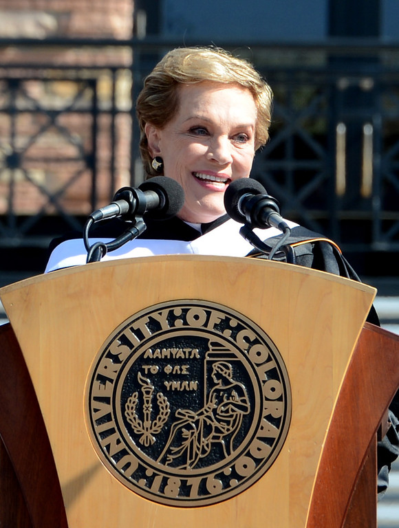 . Actor Julie Andrews was the commencement speaker at the University of Colorado 2013 Spring Commencement in Boulder, Colorado  on May 10, 2013. (Cliff Grassmick/Daily Camera)