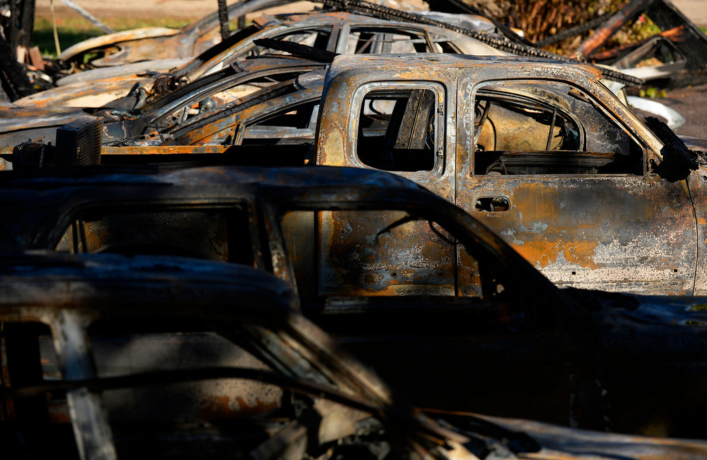 . Several vehicles were burned  during a fire near Estes Street and Alameda Boulevard in Lakewood, October 22, 2013. (Photo By RJ Sangosti/The Denver Post)