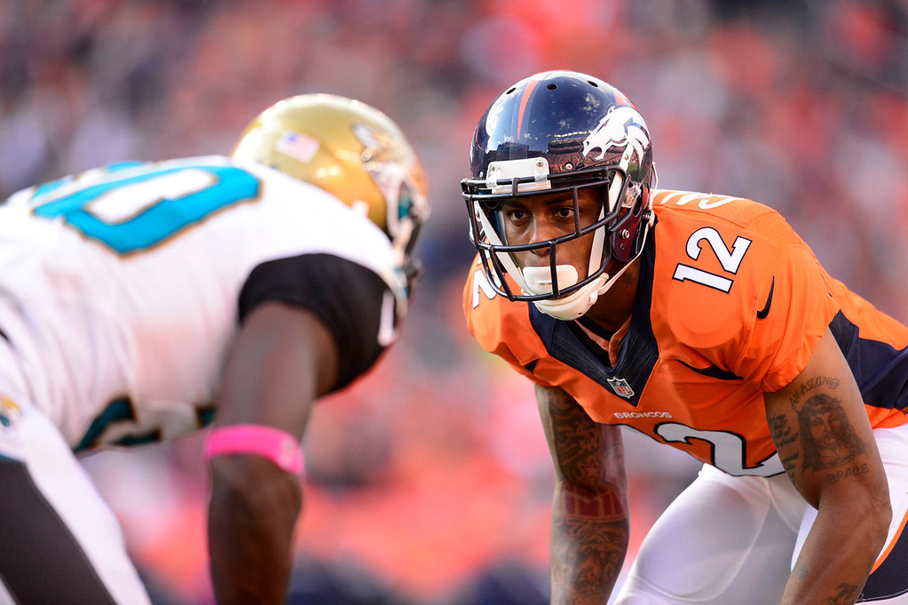 . Denver Broncos wide receiver Andre Caldwell (12) at the line in the fourth quarter. The Denver Broncos take on the Jacksonville Jaguars at Sports Authority Field at Mile High in Denver on October 13, 2013. (Photo by AAron Ontiveroz/The Denver Post)