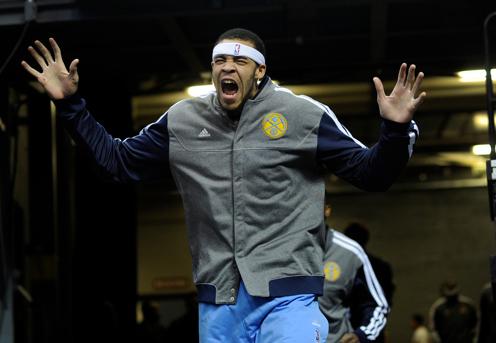 . DENVER, CO. - MARCH 22: JaVale McGee (34) of the Denver Nuggets ran out of the tunnel ready to play Saturday night. The Denver Nuggets defeated the Sacramento Kings 101-95 Saturday night, March 23, 2013 at the Pepsi Center. The Nuggets extended its longest winning streak since joining the NBA to 15 games with the win over the Kings. (Photo By Karl Gehring/The Denver Post)