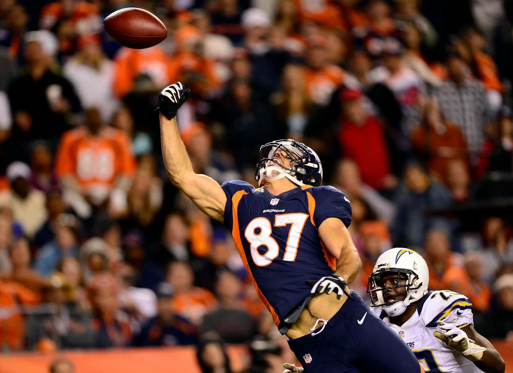 . Former Bronco receiver Eric Decker misses an attempted touchdown pass. (AAron Ontiveroz, The Denver Post)