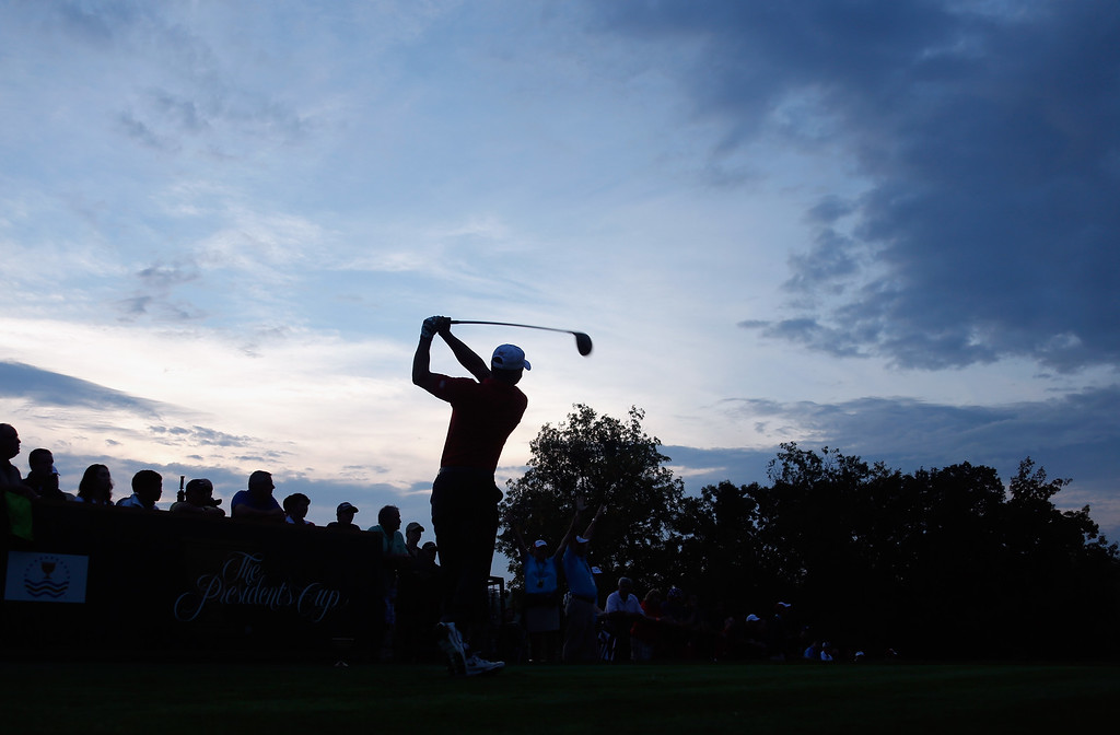 . DUBLIN, OH - OCTOBER 05:  Tiger Woods of the U.S. Team hits his tee shot on the 10th hole during the Day Three Foursome Matches at the Muirfield Village Golf Club on October 5, 2013  in Dublin, Ohio.  (Photo by Gregory Shamus/Getty Images)