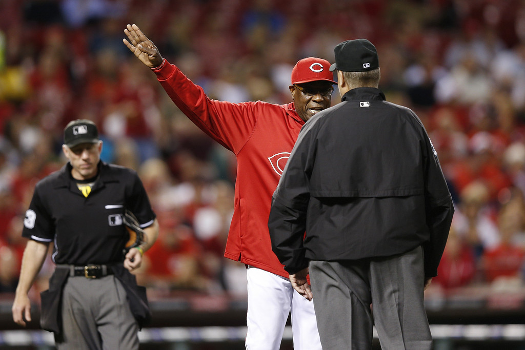 . Cincinnati Reds manager Dusty Baker argues with umpires during the game against the Colorado Rockies at Great American Ball Park on June 3, 2013 in Cincinnati, Ohio. The Reds won 3-0. (Photo by Joe Robbins/Getty Images)