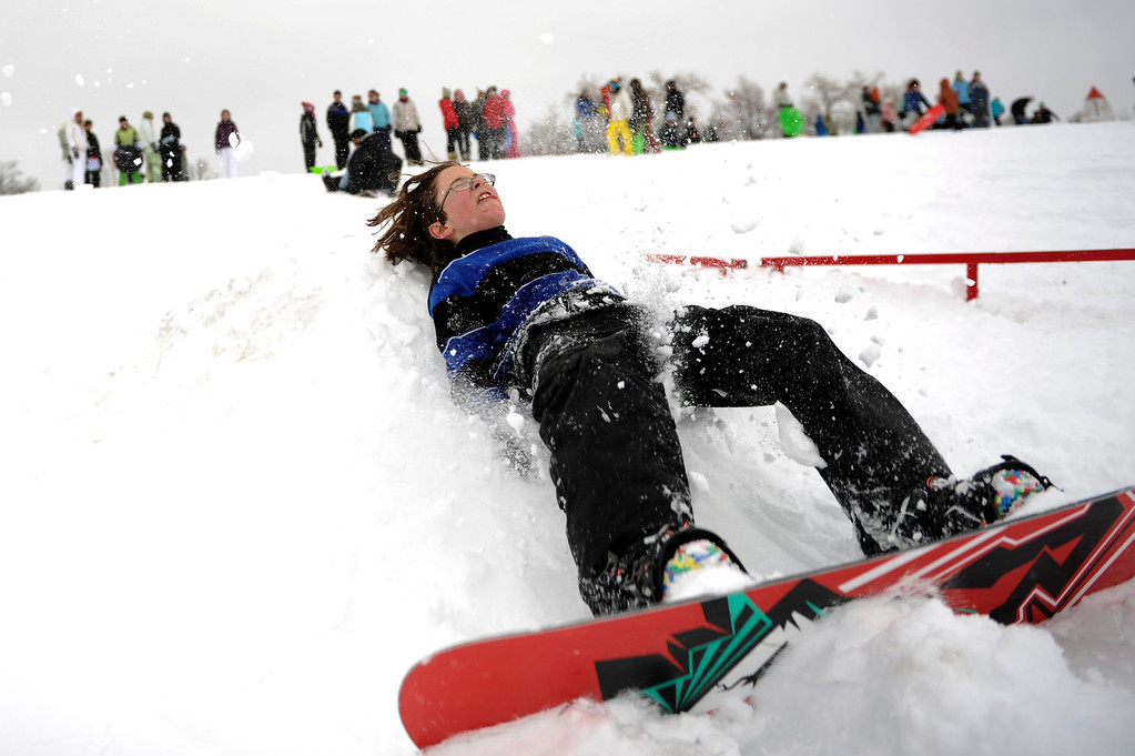 . 10 year old Jaxon Gerace lands dead on his back as he attempts a front flip at Scott Carpenter Park in Boulder, Colorado  Friday, February 3,  2012.      Joe Amon, The Denver Post
