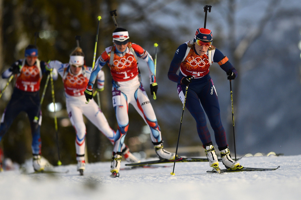 . (LtoR) US Susan Dunklee, France\'s Marie Dorin Habert, Czech Republic\'s Veronika Vitkova and Norway\'s Tora Berger  compete in the Biathlon mixed 2x6 km + 2x7,5 km Relay at the Laura Cross-Country Ski and Biathlon Center during the Sochi Winter Olympics on February 19, 2014 in Rosa Khutor near Sochi.   AFP PHOTO / PIERRE-PHILIPPE MARCOU/AFP/Getty Images