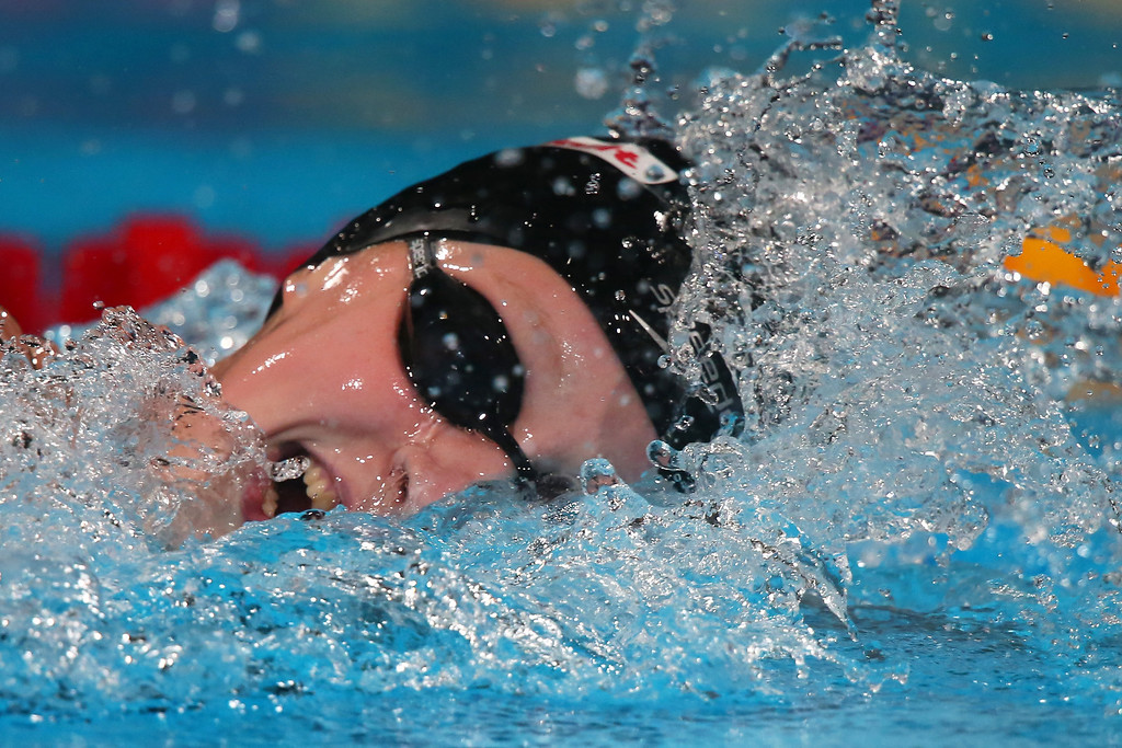 . BARCELONA, SPAIN - AUGUST 03:  Katie Ledecky of the USA sets a new World Record time of 8:13.86 in the Swimming Women\'s Freestyle 800m Final on day fifteen of the 15th FINA World Championships at Palau Sant Jordi on August 3, 2013 in Barcelona, Spain.  (Photo by Alexander Hassenstein/Getty Images)