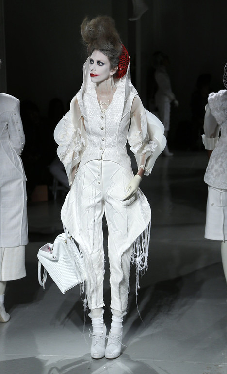 . The Thom Browne Spring 2014 collection is modeled during Fashion Week in New York, Monday, Sept. 9, 2013.  (AP Photo/Seth Wenig)