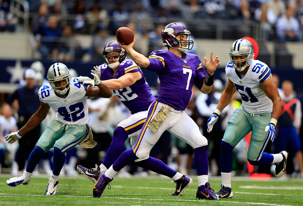 . Quarterback Christian Ponder #7 of the Minnesota Vikings passes during the game against the Dallas Cowboys at Cowboys Stadium on November 3, 2013 in Arlington, Texas.  (Photo by Jamie Squire/Getty Images)