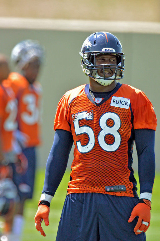 . Denver Broncos :B Von Miller (58) during training camp July 26, 2013 at Dove Valley. (Photo By John Leyba/The Denver Post)