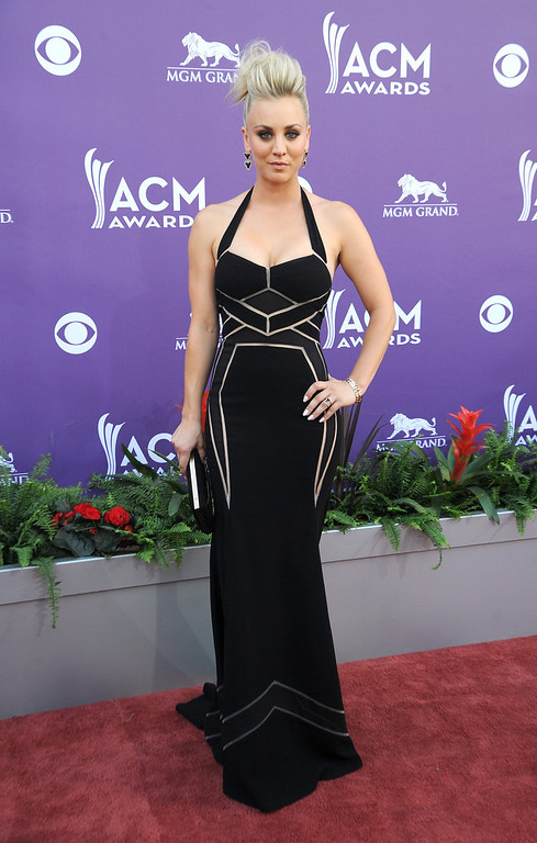 . Actress Kaley Cuoco arrives at the 48th Annual Academy of Country Music Awards at the MGM Grand Garden Arena in Las Vegas on Sunday, April 7, 2013. (Photo by Al Powers/Invision/AP)