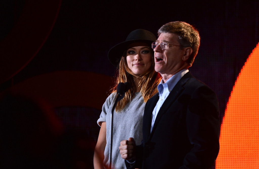 . NEW YORK, NY - SEPTEMBER 28:  Actress Olivia Wilde (L) and Jeffrey Sachs appear at the 2013 Global Citizen Festival in Central Park to end extreme poverty on September 28, 2013 in New York City, New York.  (Photo by Stephen Lovekin/Getty Images for Global Citizen Festival)