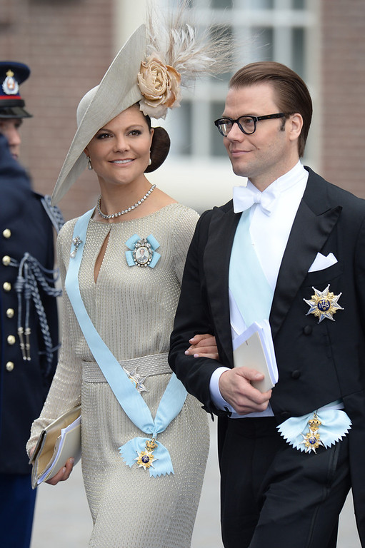 . Sweden\'s Crown Princess Victoria and Prince Daniel leave the Nieuwe Kerk (New Church) in Amsterdam on April 30, 2013 after attending the investiture of King Willem-Alexander of the Netherlands. PATRIK STOLLARZ/AFP/Getty Images