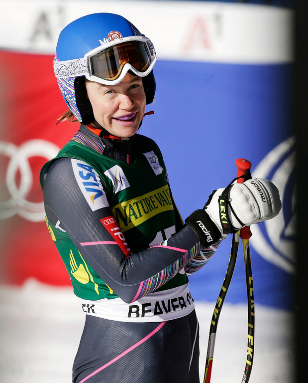 . Laurenne Ross stands after competing during the women\'s World Cup Downhill skiing event, Friday, Nov. 29, 2013, in Beaver Creek, Colo. (AP Photo/Julie Jacobson)