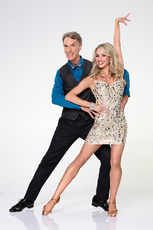 ". DANCING WITH THE STARS - BILL NYE & TYNE STECKLEIN - Bill Nye joins first time professional partner Tyne Stecklein. ""Dancing with the Stars\"" returns for Season 17 on MONDAY, SEPTEMBER 16 (8:00-10:01 p.m., ET), on the ABC Television Network. (ABC/Craig Sjodin)"