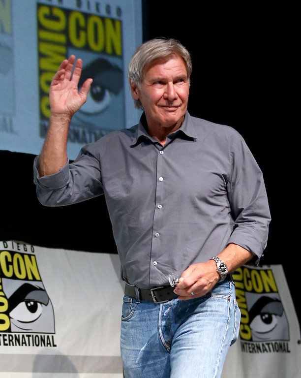 ". Actor Harrison Ford onstage at the ""Ender\'s Game\"" press conference during Comic-Con International 2013 at San Diego Convention Center on July 18, 2013 in San Diego, California.  (Photo by Joe Scarnici/Getty Images for Summit Entertainment)"