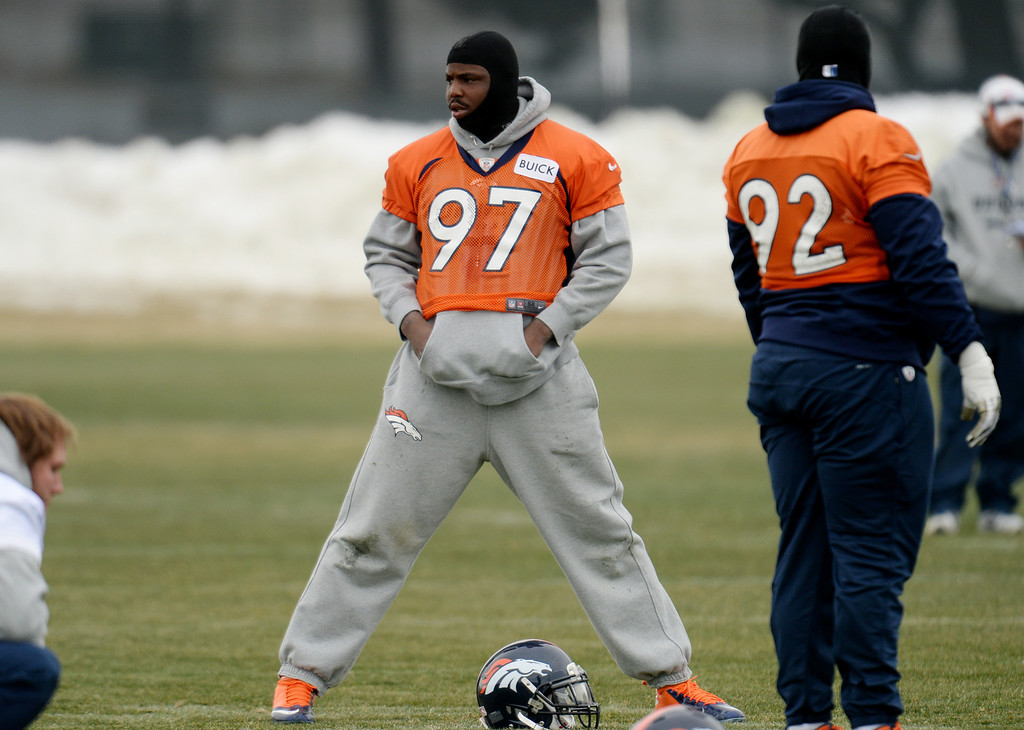 . CENTENNIAL, CO. NOVEMBER 22 : Malik Jackson of Denver Broncos (97) is warming up for the team practice at the field in Denver Broncos Headquarters at Dove Valley. Centennial, Colorado. November 22, 2013. (Photo by Hyoung Chang/The Denver Post)
