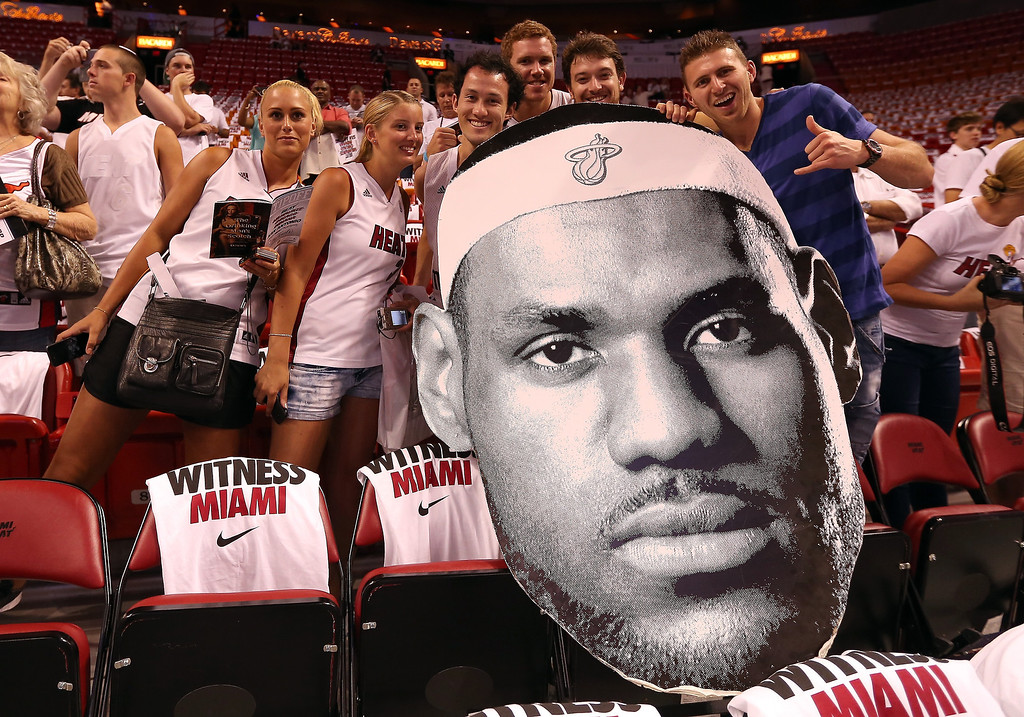 . Fans hold up a large cut-out of LeBron James #6 of the Miami Heat before the Heat take on the San Antonio Spurs in Game One of the 2013 NBA Finals at AmericanAirlines Arena on June 6, 2013 in Miami, Florida. (Photo by Christian Petersen/Getty Images)