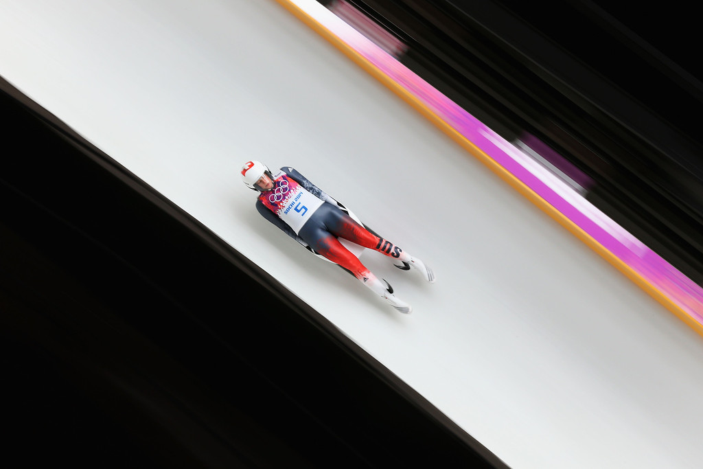 . Martina Kocher of Switzerland makes a run during the Women\'s Luge Singles on Day 3 of the Sochi 2014 Winter Olympics at Sliding Center Sanki on February 10, 2014 in Sochi, Russia.  (Photo by Alex Livesey/Getty Images)