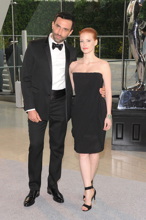 . Designer Riccardo Tisci and Jessica Chastain attend the 2013 CFDA Fashion Awards on June 3, 2013 in New York, United States.  (Photo by Jamie McCarthy/Getty Images)