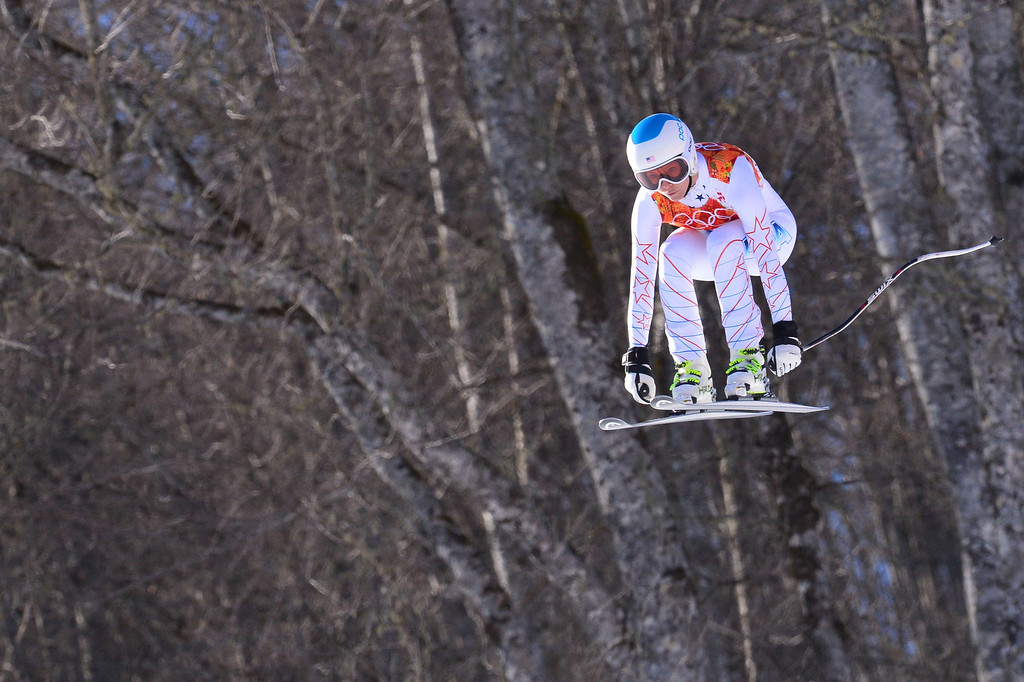 . US skier Julia Mancuso skis during the Women\'s Alpine Skiing Downhill at the Rosa Khutor Alpine Center during the Sochi Winter Olympics on February 12, 2014.    DIMITAR DILKOFF/AFP/Getty Images