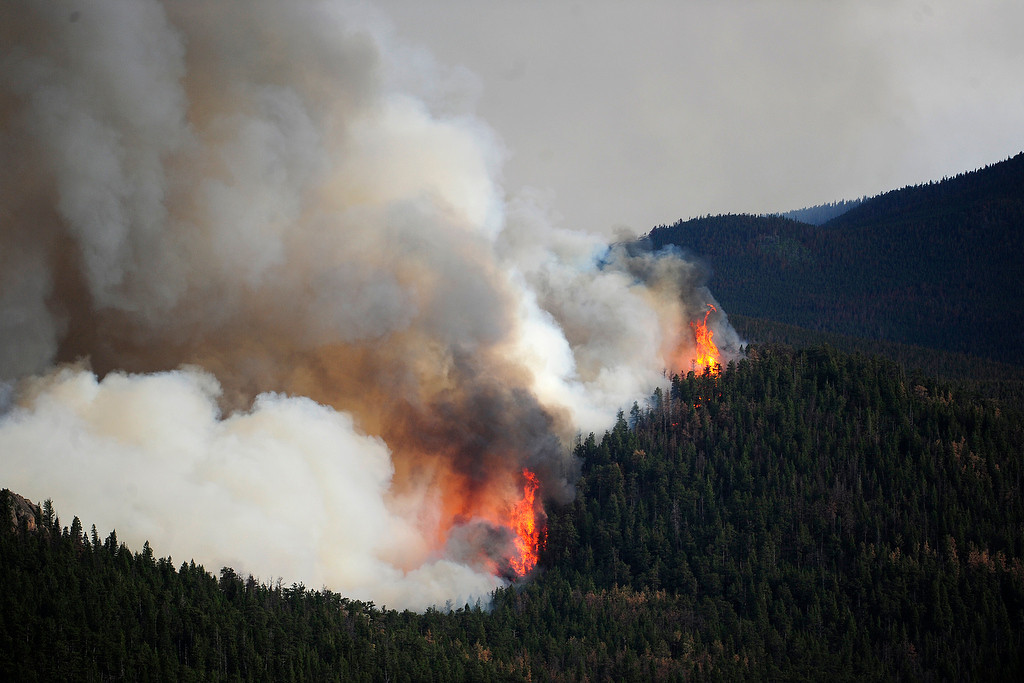 . Fire works its way uphill as the High Park fire burns on Stove Prairie Road and Highway 14 in Poudre Canyon west of Fort Collins on Tuesday, June 12, 2012. The fire has now burned more than 40,000 acres encompassing more than 65 square miles. AAron Ontiveroz, The Denver Post