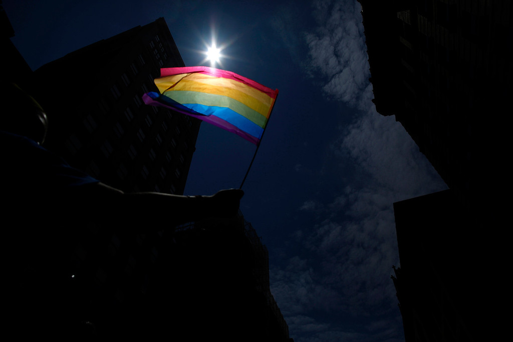 . A marcher waves a flag during the Gay Pride Parade in New York June 30, 2013. REUTERS/Eric Thayer