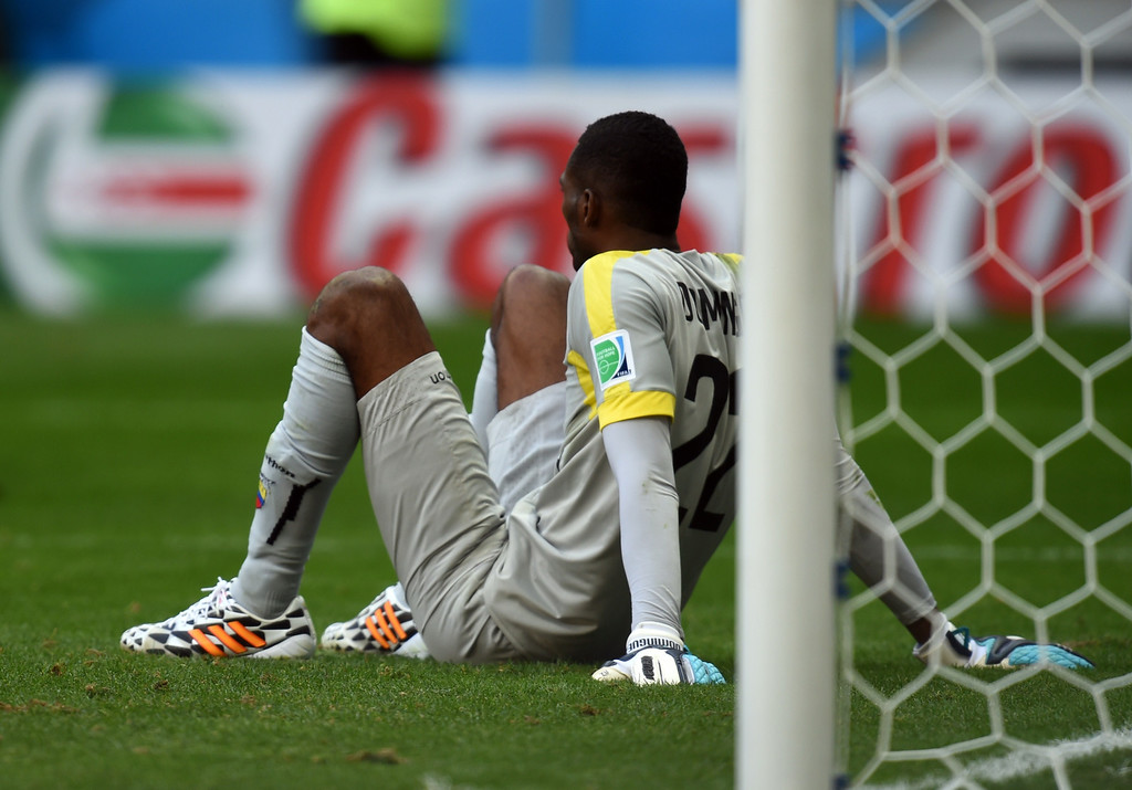 . Ecuador\'s goalkeeper Alexander Dominguez reacts after Swiss second goal during a Group E football match between Switzerland and Ecuador at the Mane Garrincha National Stadium in Brasilia during the 2014 FIFA World Cup on June 15, 2014. Switzerland won 2-1.     AFP PHOTO/ PEDRO UGARTE