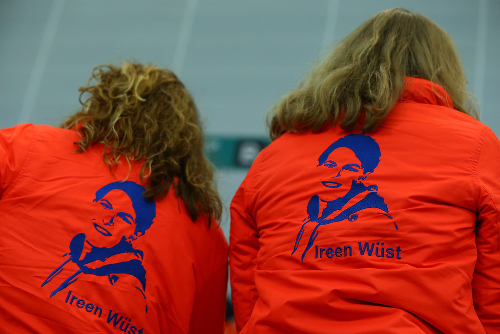 . Fans of Irene Wust of Netherlands display their jackets ahead of the Women\'s 3000m Speed Skating event during day 2 of the Sochi 2014 Winter Olympics at Adler Arena Skating Center on February 9, 2014 in Sochi, .  (Photo by Streeter Lecka/Getty Images)