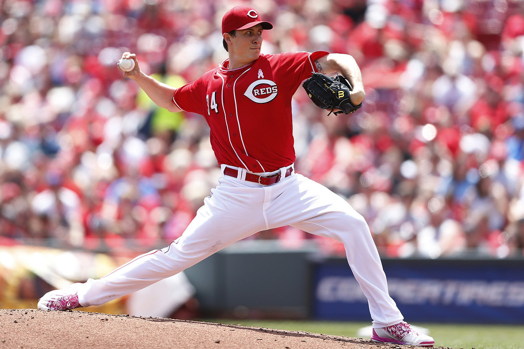 . Homer Bailey #34 of the Cincinnati Reds pitches in the third inning of the game against the Colorado Rockies at Great American Ball Park on May 11, 2014 in Cincinnati, Ohio. (Photo by Joe Robbins/Getty Images)