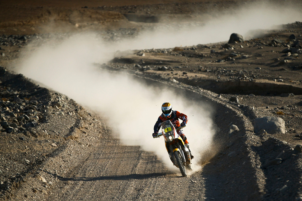 . KTM rider Jordi Viladoms of Spain rides his motorcycle during the twelfth stage of the Dakar Rally between the cities of El Salvador and La Serena, Chile, Friday, Jan. 17, 2014. (AP Photo/Victor R. Caivano)