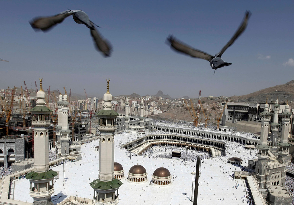 . Pigeons fly over the Grand Mosque at Friday prayers during the annual haj pilgrimage in the holy city of Mecca October 19, 2012. The Arafat Day, when millions of Muslim pilgrims will stand in prayer on the mount of Arafat near Mecca at the peak of the annual pilgrimage, will be held on October 25 and Eid al-Adha or the feast of sacrifice will be held on October 26, according to an official announcement on Tuesday. REUTERS/Amr Abdallah Dalsh