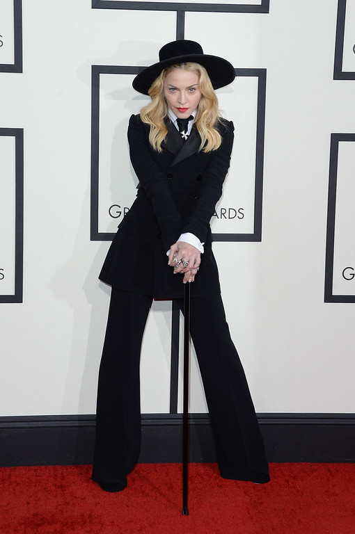 . Singer Madonna attends the 56th GRAMMY Awards at Staples Center on January 26, 2014 in Los Angeles, California.  (Photo by Jason Merritt/Getty Images)