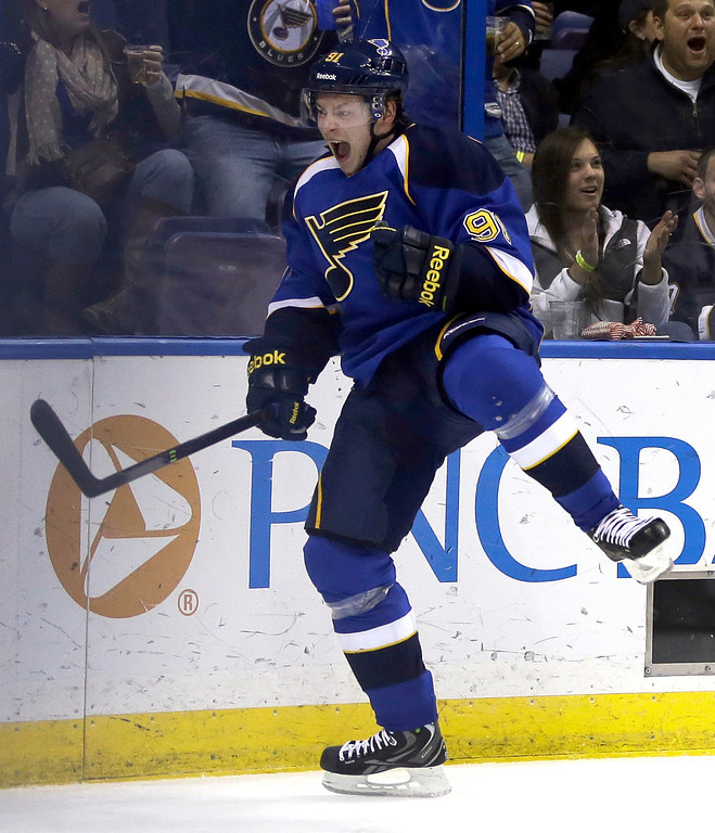 . St. Louis Blues\' Vladimir Tarasenko, of Russia, celebrates after scoring during the second period of an NHL hockey game against the Colorado Avalanche Thursday, Nov. 14, 2013, in St. Louis. (AP Photo/Jeff Roberson)