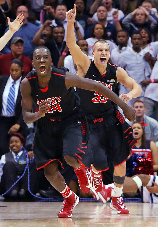 . 040713 ATLANTA:  Drury forward Cameron Adams, left, and guard Alex Hall, who scored 21 points, react as time expires in the game defeating Metro State 74-73 to win the NCAA Division II National Championship on Sunday April 7, 2013, in Atlanta.    (AP Photo/Atlanta Journal-Constitution, Curtis Compton)