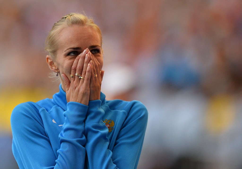 . Russia\'s Svetlana Shkolina reacts after winning the women\'s high jump final at the 2013 IAAF World Championships at the Luzhniki stadium in Moscow on August 17, 2013.  ANTONIN THUILLIER/AFP/Getty Images