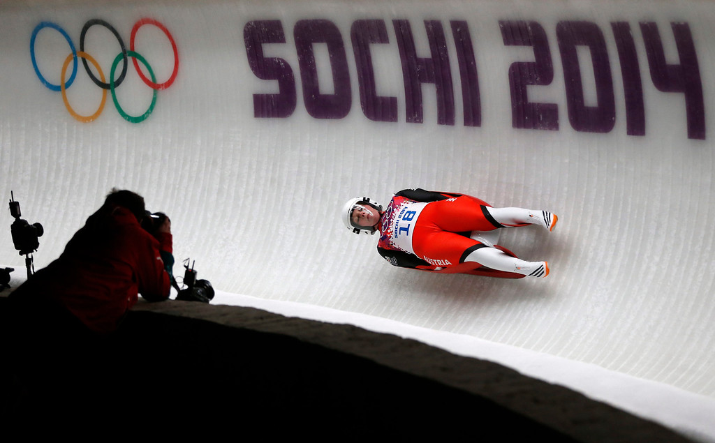 . Natalia Wojtusciszyn of Poland in action during the Women\'s Singles Luge competition at the Sanki Sliding Center at the Sochi 2014 Olympic Games, Krasnaya Polyana, Russia, 10 February 2014.  EPA/VALDRIN XHEMAJ