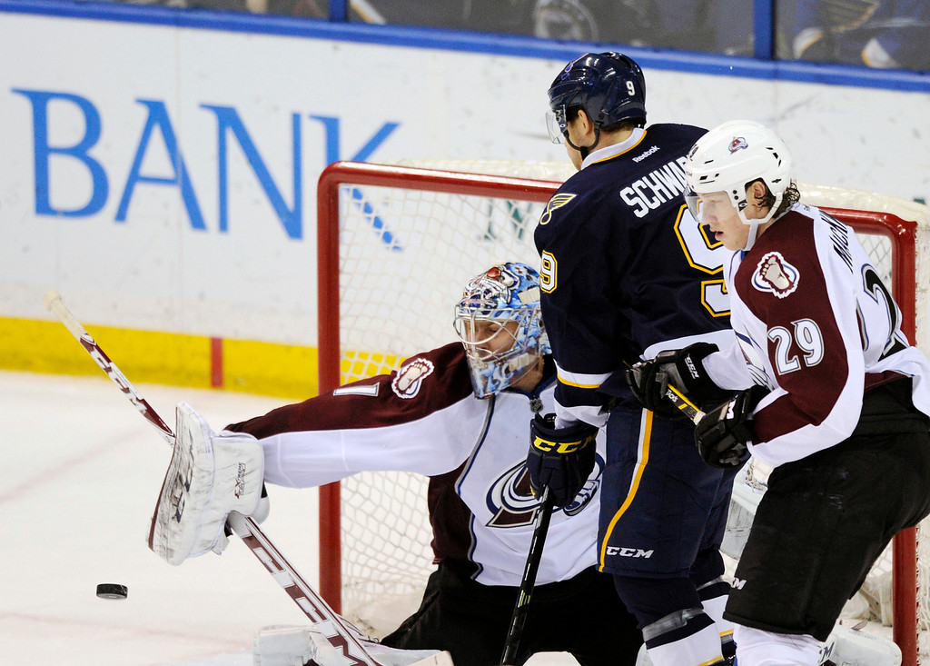 . Colorado Avalanche\'s goalie Semyon Varlamov (1), of Russia, and Nathan MacKinnon (29) defend against St. Louis Blues\' Jaden Schwartz (9) during the third period of an NHL hockey game, Saturday, April 5, 2014, in St. Louis. (AP Photo/Bill Boyce)