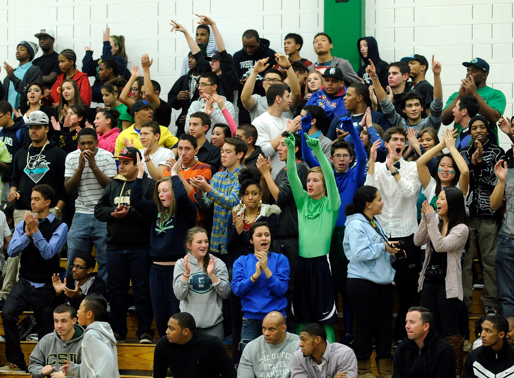 . Blazers fans celebrated the win Tuesday night.  The Overland High School boy\'s basketball team defeated Regis Jesuit 80-66 Tuesday night, December 11, 2012.  Karl Gehring/The Denver Post