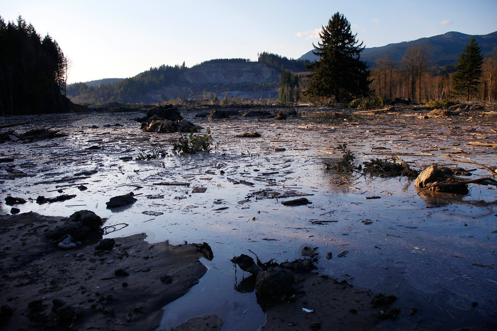 . Water and mud back up on the east side of Saturday\'s fatal mudslide near Oso, Wash., Sunday March 23, 2014. (AP Photo /The Herald, Genna Martin)