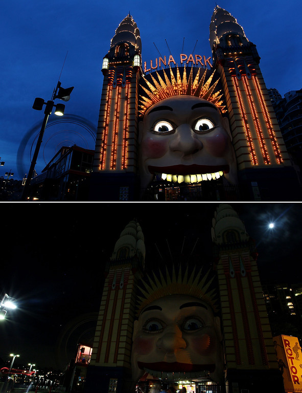 . In this composite image the Luna Park entrance is seen before on March 21 (top) and after the lights were switched off to recognize Earth Hour on March 23, 2013 in Sydney, Australia. Businesses and households around the world will turn their lights off for on hour at 20:30 local time today, to celebrate Earth Hour, raise awareness about climate change and to show support for the use of renewable energy. Earth hour began in Sydney in 2007 and is now celebrated in over 150 countries around the world.  (Photo by Lisa Maree Williams/Getty Images)
